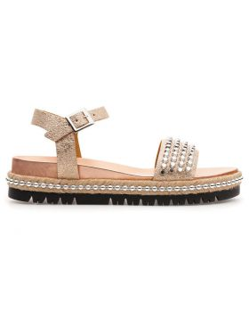 PLATINUM LAMÉ SANDAL WITH STUDS