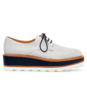 Women's Mesh Leather Platform Derby