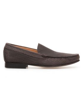 Men's Interweaved Calfskin Plain Loafer With Leather Sole