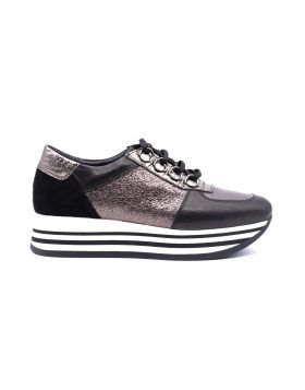 Women's platform sneaker with jeweled hooks