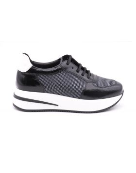 Women's sneaker platform in patent and fabric-NERO/ARGENTO-ABB3-35