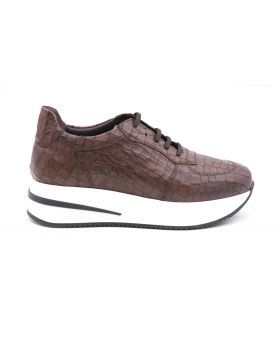 Women's sneaker platform in calf leather -TABACCO-TBC-35