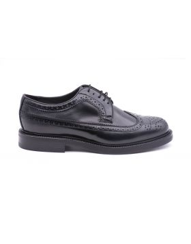 Men's Derby Full Brogue with Leather Sole-NERO-NRO-40