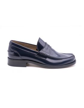 Mocassin Man in Leather Sole Leather-BLEU-BLU-39