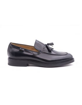 Man's moccasin in shiny leather-BLU-BLU-39