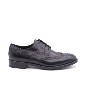 Derby Man Brogue in shiny leather-NERO-NRO-39