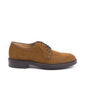 Men's suede Derby with Rubber Sole-COGNAC-CGN-39