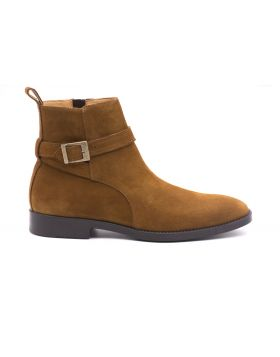 Man ankle boots in suede leather-COGNAC-CGN-39