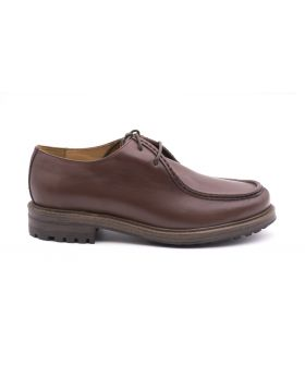 Men's shoes leather with Rubber Sole-MARRONE-MRR-40