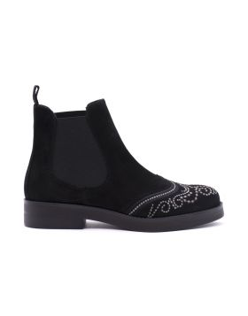 Chelsea Boot Woman in goat suede and embroidery