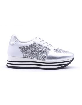 Women's platform sneaker in leather and fabric