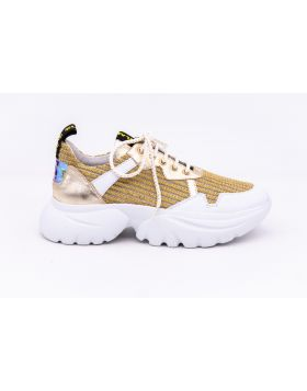 WOMEN'S LEATHER AND FABRIC SNEAKER