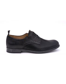 MEN'S DERBY WOVEN PRINT LEATHER RUBBER SOLE