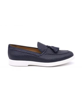 MEN'S TASSEL LOAFER WOVEN RUBBER SOLE-BLU